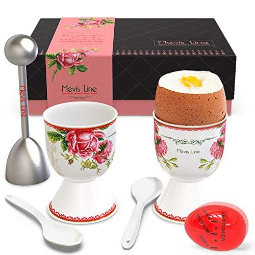 Mevis Line Egg Cups and Topper Cracker Set | Soft Hard Boiled Egg Cooker Tool | Includes 2 Eggs Holder With German Rose Design, 2 Ceramic Spoons, 1 Egg Timer ()