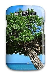 Tpu Case Cover For Galaxy S3 Strong Protect Case - Artistic Scenic Tree Beach Aruba Design