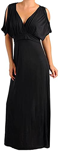 Funfash Plus Size Women Black Cold Open Shoulders Long Maxi Dress Made in USA