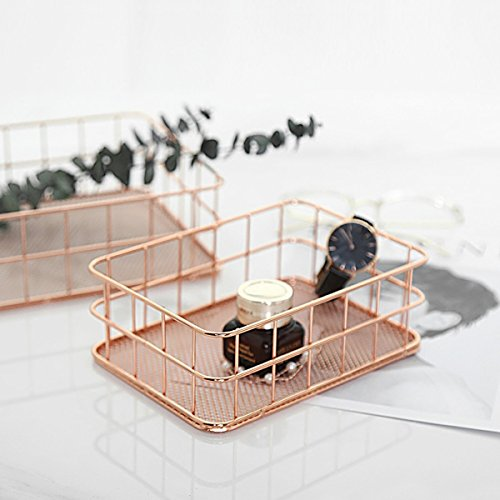 Caveen Modern Copper Rose Gold Wire Mesh Basket Storage Office Bedroom Bathroom Rose Gold medium Photo #6