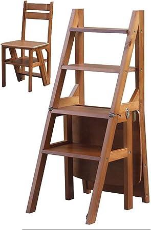 SMBYLL Escalera Nueva Nueva Silla de Cuatro Capas de Madera Maciza Escalera Moderna de Uso Doble Escalera Taburete Escalera de Madera Plegable Silla de Comedor Silla Escalera Taburete Escalera: Amazon.es: Hogar