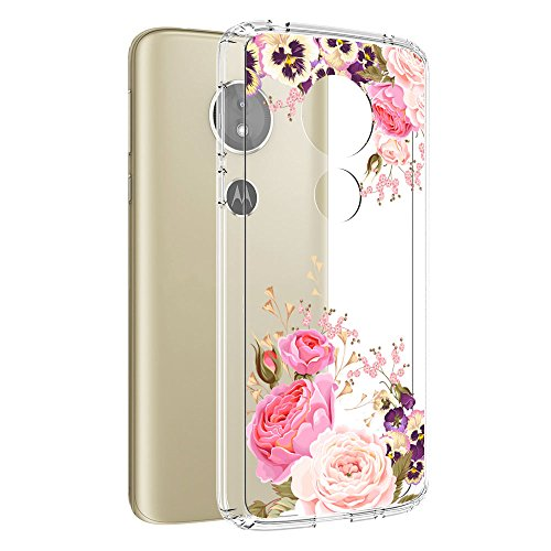 Moto G6 Play Case, Moto G6 Forge case, Vinve [Crystal Clear] Anti-Scratch Shockproof Cover Clear Hard Back Panel + TPU Bumper Slim Case for MOTO G6 Play (Peony) ()