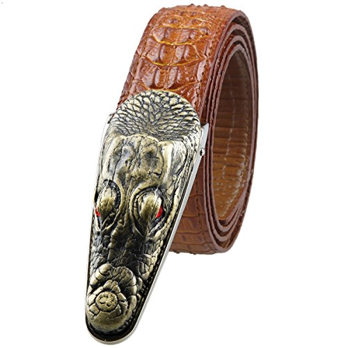 moonsix Leather Belts for Men 35mm Alligator Crocodile Embossed Dress Belt with Plaque Buckle,Style 1-Red (Embossed Leather Pants)