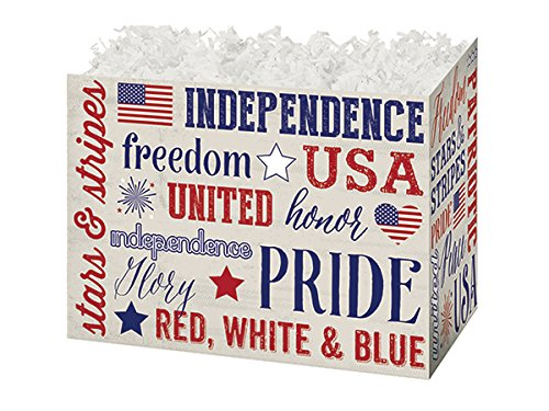 Pack of 6, Small Patriotic Expressions Basket Boxes 6.75 X 4 X 5