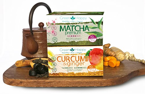 Green & Happy Power Duo Curcumin Ginger, Matcha Gummies | Vegan, Gluten Free, Metabolism Booster, Focused Energy, Antioxidant, Weight Loss, Inflammation & Joint Support (140 Ct)
