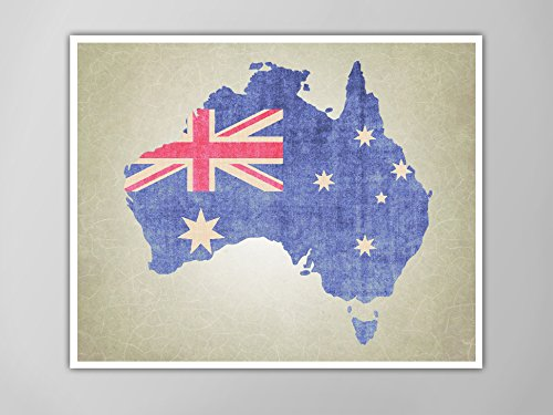 australia map art print australia map print australian flag art print australia print