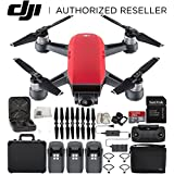 DJI Spark Portable Mini Drone Quadcopter Fly More Combo Black Aluminum Hardshell Case Bundle With Extra Battery (Lava Red)
