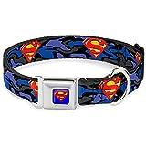 Buckle Down Seatbelt Buckle Dog Collar - Superman Shield Camo Blue - 1.5'' Wide - Fits 13-18'' Neck - Small