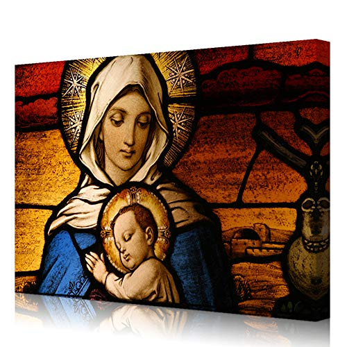 VVOVV Wall Decor - Famous Oil Painting Vingin Mary and Baby Jesus Sleepping Canvas Wall Art Christian Catholic Religious Poster Abstract Art Pictures for Wall Decor