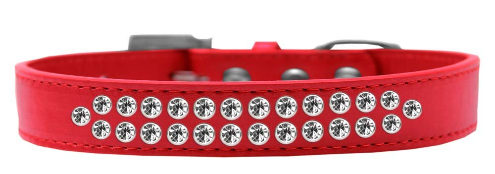 Mirage Pet Products Two Row Clear Crystal Red Dog Collar, Size 20 by Mirage Pet Products