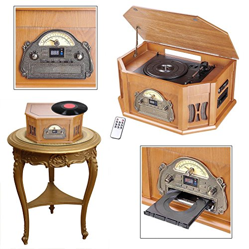 GC Global Direct Vintage Turntable Vinyl Record Player Bluetooth CD FM USB Color Opt (Wood)