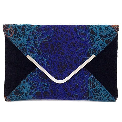 Blue Fabric Handbags - Ombre color Mixed Fabric Bohemian Envelope Clutch, Blue