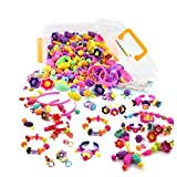 WTOR 520+ Pcs Snap Pop Beads Set for Kids Creative DIY Jewelry Making Kit Intelligence Education Toys Gifts for 3 4 5 6 7 Year Old Girls Toys