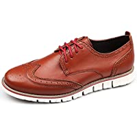 Laoks Men's Brogues Oxford Wingtip Genuine Leather Dress Shoes Lace-up