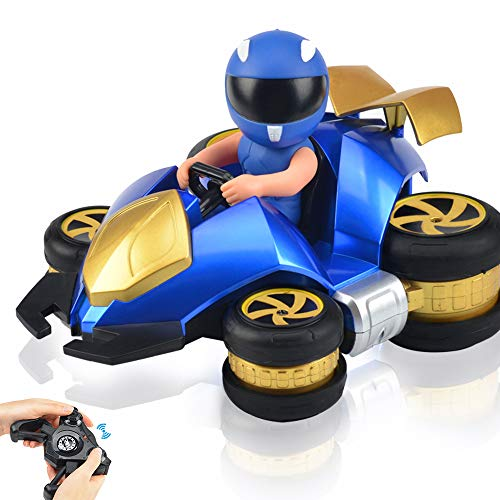 (Remote Control Car RC Stunt Car for Kids 6 Kinds of Stunt Performing Modes Drift 360-degree Spin Tilt Wheels 2.4GHz 4WD Dual Motors Rechargeable Electric Remote Control Truck Blue)