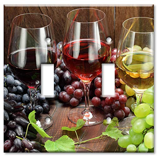 Art Plates 2 Gang Toggle Wall Plate - Wine with Grapes