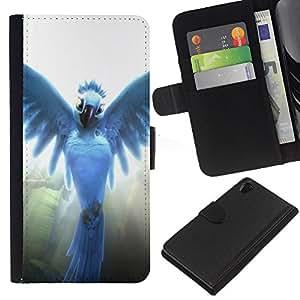YiPhone /// Tirón de la caja Cartera de cuero con ranuras para tarjetas - Pájaro del ángel - Sony Xperia Z2 D6502