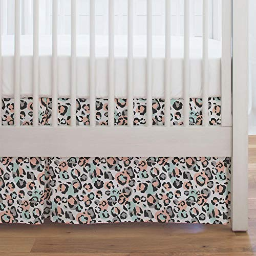 Carousel Designs Peach and Mint Leopard Crib Skirt Single-Pleat 17-Inch Length - Organic 100% Cotton Crib Skirt - Made in The USA