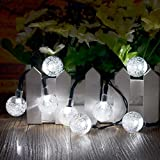 Williamtai Solar String Lights, 30 LED waterproof Outdoor Globe Solar Fairy Lights 20ft/6M Crystal Ball Lights for Christmas, Party, Patio, Tree, Garden and Patio Decoration (White)
