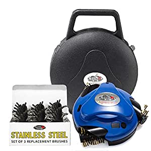 Grillbot Automatic Grill Cleaner, Blue Bundle with Stainless Steel Brush