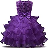 NNJXD Girl Dress Kids Ruffles Lace Party Wedding Dresses Size (130) 5-6 Years Flower Purple