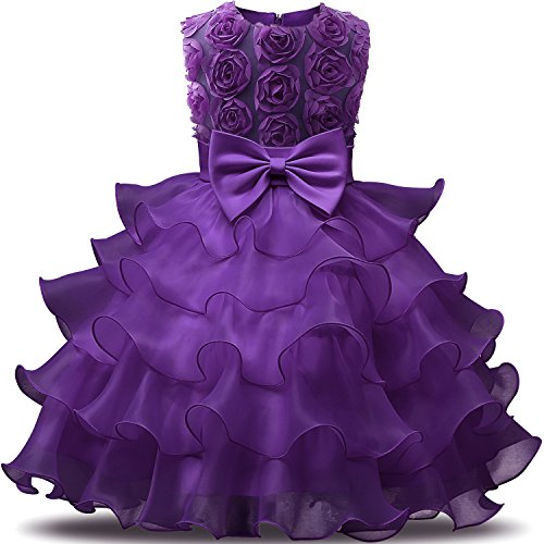 NNJXD Girl Dress Kids Ruffles Lace Party Wedding Dresses Size (140) 6-7 Years Flower Purple -