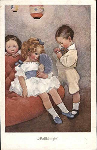 Ballkonigin Belle of the Ball - Boy Standing by Girl on Sofa With Fan Original Vintage Postcard