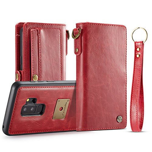 Samsung Galaxy S9 Plus Wallet Case,Bpowe Premium Protective Retro Style Flip PU Leather Detachable Magnetic Slim Back Cover with Wrist Strap for Samsung Galaxy S9 Plus (Red)