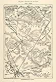1882 Relief Line-block Map Chalons Camp Dampierre France Memmie l'Epine Map - Relief Line-block Map