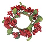7 Inch Christmas Berry Candle Ring for Pillar Candles and Glass Hurricanes