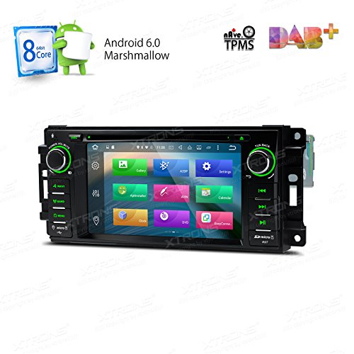XTRONS Android 6.0 Octa-Core 64Bit 7 Inch Capacitive Touch Screen Car Stereo Radio DVD Player GPS CANbus Screen Mirroring Function OBD2 Tire Pressure Monitoring for Jeep Dodge Chrysler by XTRONS
