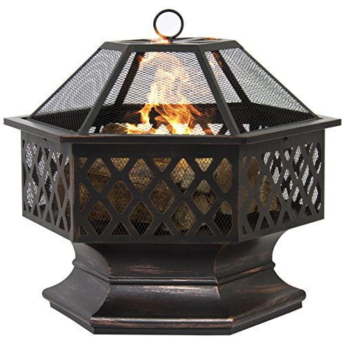 Best Choice Products BCP Hex Shaped Outdoor Home Garden Backyard Fireplace (Patio Fireplace)