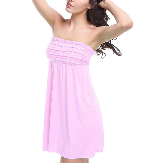 jiajia Sexy Beach Solid Trägerlos Tube Kleid Bikini Cover up Badeanzug:  Amazon.de: Bekleidung