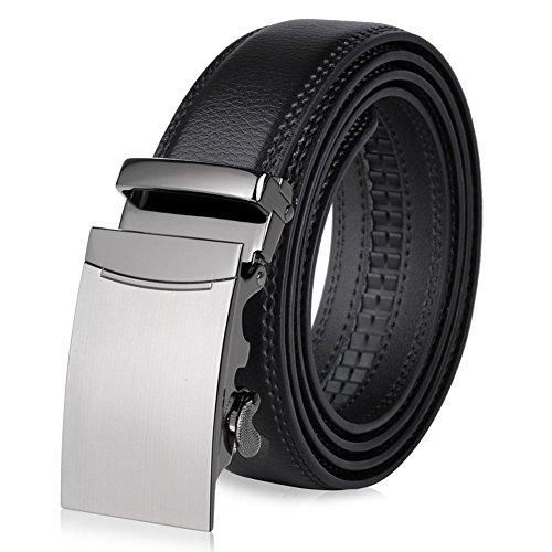 Men's Genuine Leather Belt Designer Belts for Men Ratchet Dress Belt 35mm Wide (Black 130cm/51 inches, Silver 314)