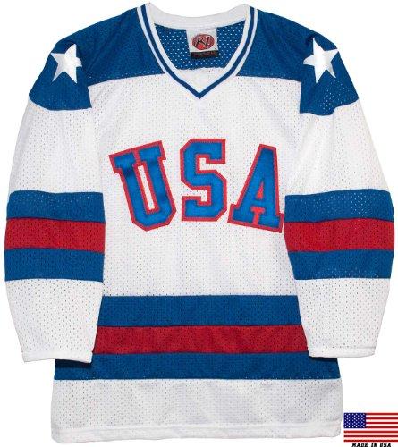 1980 USA Olympic Miracle on Ice Hockey Jersey (Youth Sizes) (White, Large)