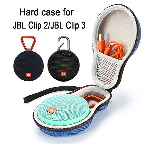 Hard Case Travel Carrying Storage Bag for JBL Clip 2/JBL Clip 3 Wireless Bluetooth Portable Speaker. Fits USB Cable - Dark Blue