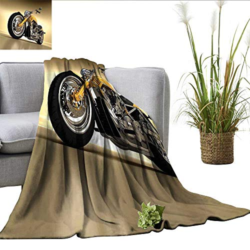 ScottDecor Motorcycle Plush Throw Iron Custom Aesthetic Hobby Motorbike Futuristic Modern Mirrors Riding Theme Blankets Yellow Silver W30 xL50