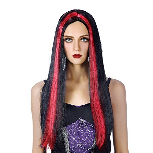Free beauty Long Witch Cosplay Wigs-Heat Resistant Synthetic Costume Halloween Party Full Vampire Hair Wig for Girls Women (Red and -