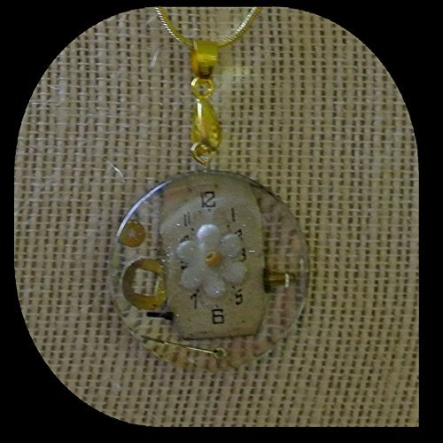 Daisy in time-Round watch crystal with watch dial an parts and a daisy charm on gold color 20 inch chain