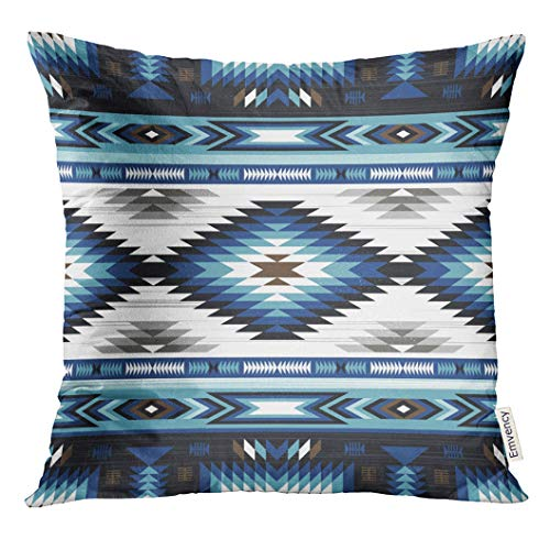 VANMI Throw Pillow Cover Colorful Surf Blue Colors Tribal Navajo Pattern Aztec Abstract Geometric Ethnic Hipster Design American Decorative Pillow Case Home Decor Square 20x20 Inches Pillowcase