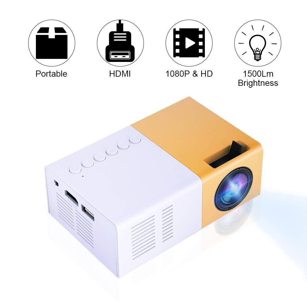 Bianco-Giallo VBESTLIFE Mini Proiettore Videoproiettore Portatile a LED Lettore Multimediale Portatile Elegante Home Theater HD Supporto 1080P HDMI VGA Multimedia Player
