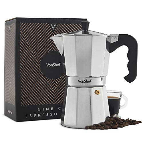 VonShef Cafetera Italiana Espresso para hornillo 9 Tazas