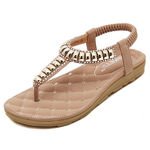 dqq Damen Perlen t-strap Tanga Flache Sandalen Pink 195