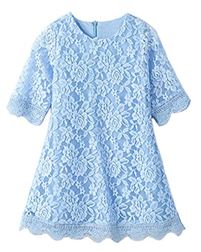 CVERRE Flower Girl Lace Dress Country Dresses with Sleeves 1-6 7-16 (Light - Dress Blue Hair