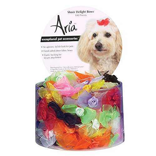 Aria Sheer Delight Bows for Dogs, 100-Piece (Bows Canister)