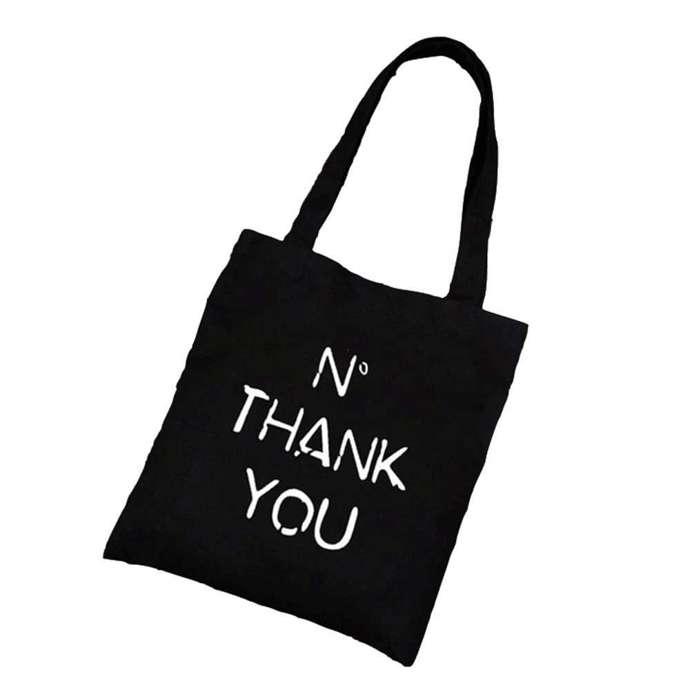 WHXYAA Thank You Printed Canvas Bag Shoulder Bag Tote Bag Ladies Shopping Bag(Black) Simple Atmosphere