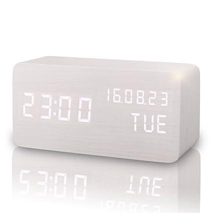 Comercio blanco portátil madera digital relojes con 2 modos ...