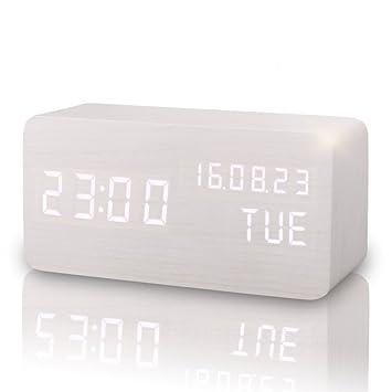 Comercio blanco portátil madera digital relojes con 2 modos de visualización 3 Sets Control Acústico de