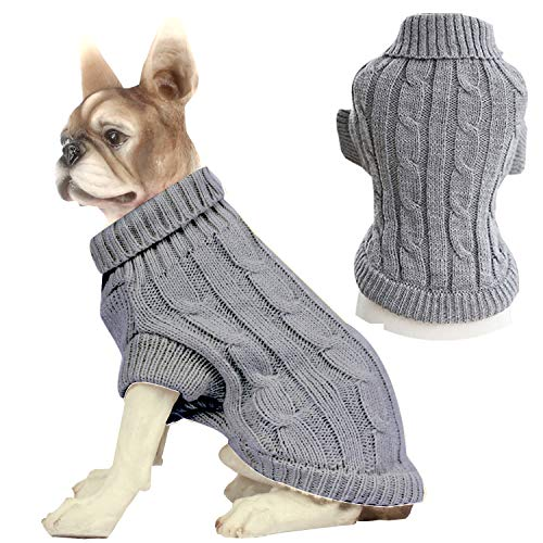 HAPEE Dog Sweaters for Christmas Santa Pet Cat Clothes,Dog Accessories, Dog Apparel (A7-Grey, S)