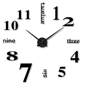Relojes de pared Adhesivos DIY 3D Números Moderno Relojes Decoración (Negro): Amazon.es: Hogar